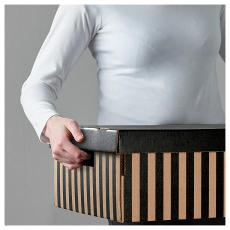 Коробка с крышкой ПИНГЛА черный, естественный фото 1